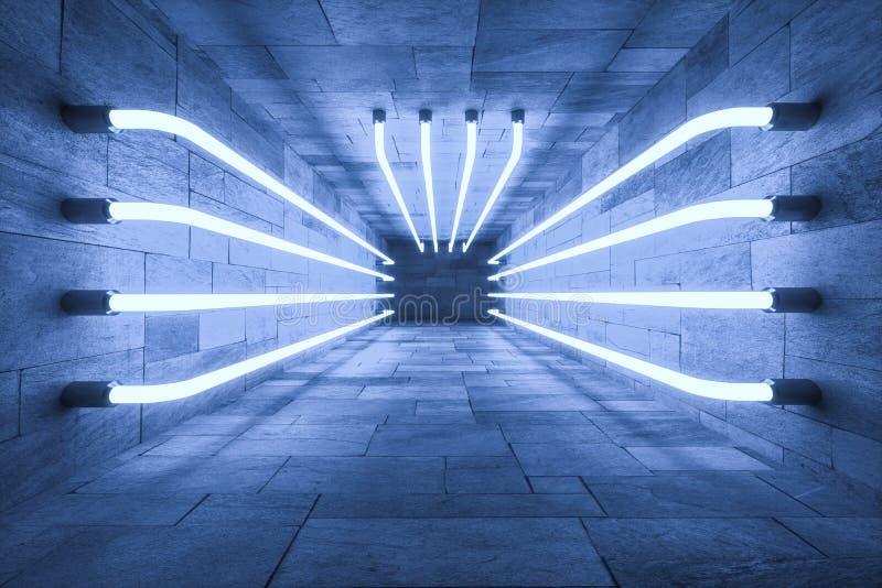 het 3d teruggeven, gloeiende magische lijnen anbanoned binnen ruimte, donkere achtergrond royalty-vrije illustratie