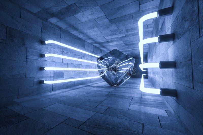 het 3d teruggeven, gloeiende magische lijnen anbanoned binnen ruimte, donkere achtergrond vector illustratie