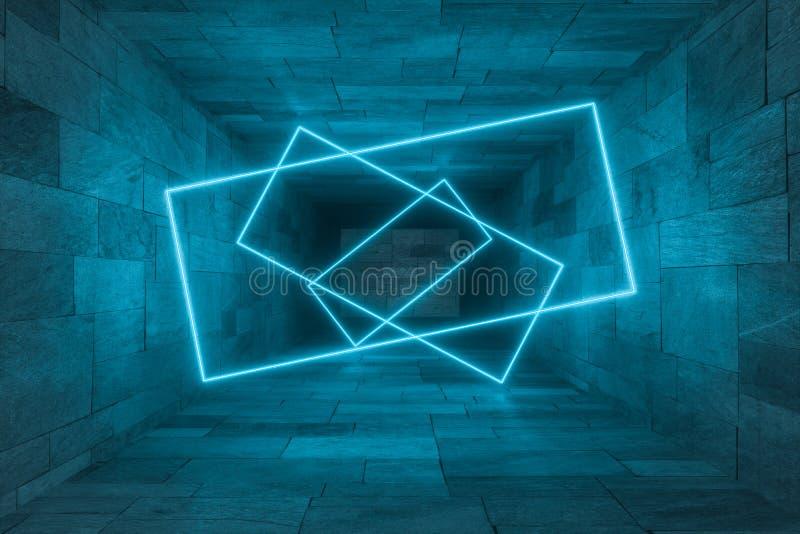 het 3d teruggeven, gloeiende magische lijnen anbanoned binnen ruimte, donkere achtergrond stock illustratie