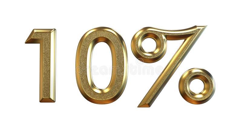 het 3d teruggeven Gouden percentages op een witte achtergrond vector illustratie