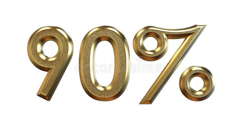 het 3d teruggeven Gouden percentages op een witte achtergrond royalty-vrije illustratie