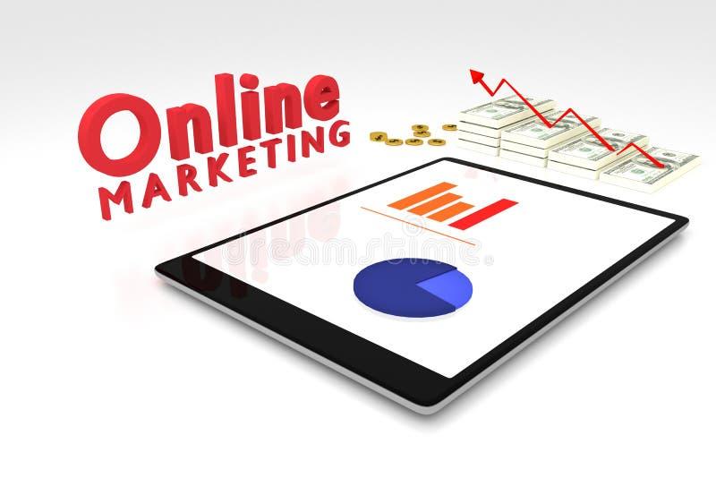 het 3D teruggeven: het online marketing concept, de computertablet met een grafiek op het scherm en het dollarsgeld met rode pijl stock illustratie