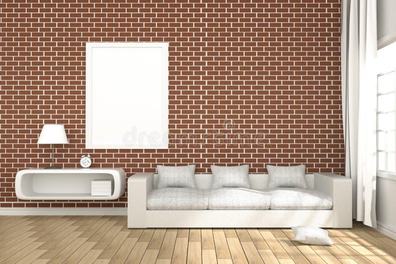 het 3D Teruggeven: illustratie van comfortabel woonkamerbinnenland met witte boekenplank en wit bankmeubilair tegen rode bakstene stock illustratie