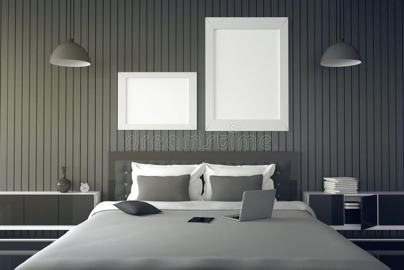 het 3D teruggeven: illustratie van modern huisbinnenland een deel van de bedruimte van huis Ruime slaapkamer in zwart-witte stijl stock illustratie