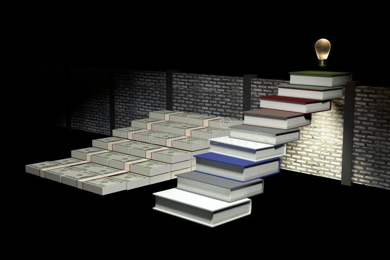 het 3D Teruggeven: illustratie van succes door kennisconcept ladder aan succes zaken of het leven door kennis Abstracte donkere r royalty-vrije illustratie