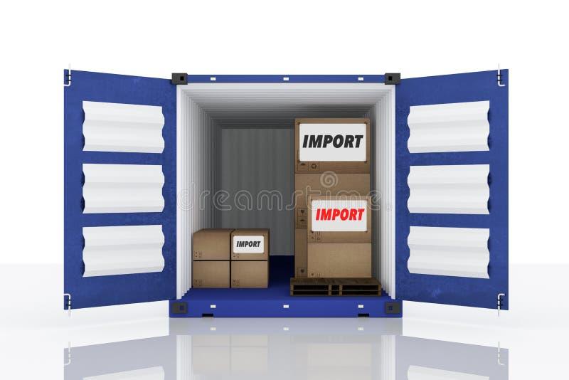 het 3D teruggeven: illustratie van voorkant open blauwe container met kartondozen binnen de container vector illustratie