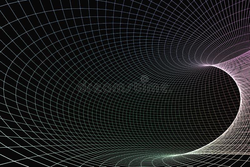 het 3d teruggeven, krommelijnen met donkere achtergrond vector illustratie