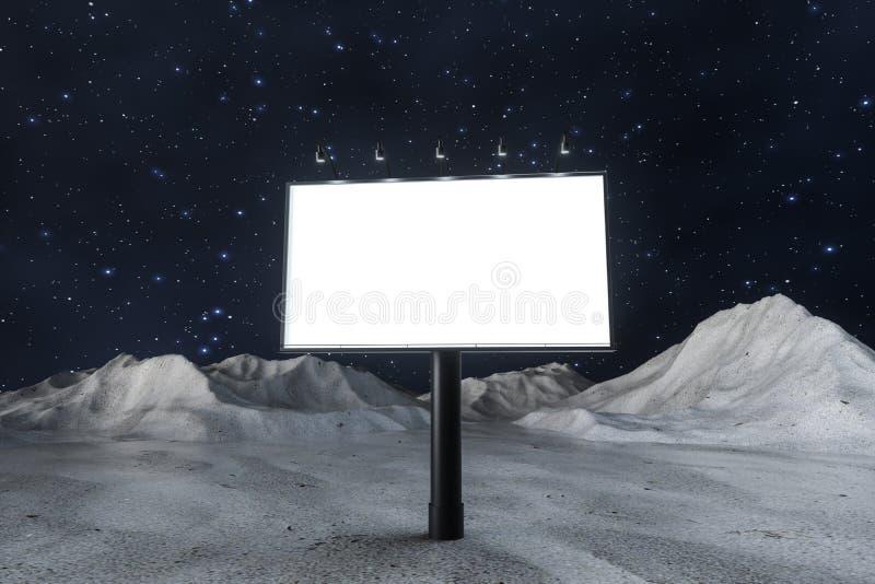 het 3d teruggeven, lege adverterende raad in de nachtsc?ne vector illustratie