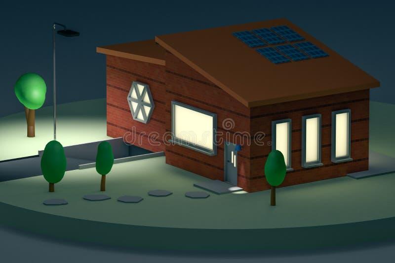 het 3d teruggeven, minihuis bij nacht vector illustratie