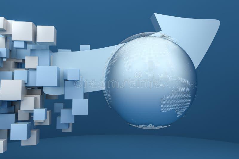 het 3d teruggeven, 3d model van pijl, het concept ontwikkeling en richting stock illustratie