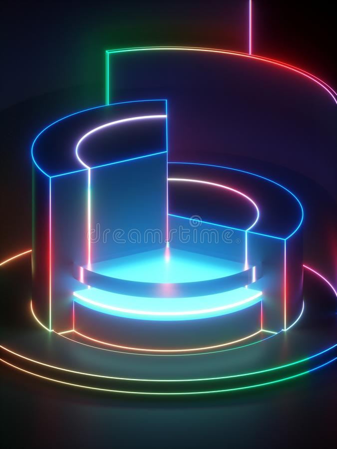 het 3d teruggeven, moderne abstracte geometrische achtergrond, minimalistic lege showcase, glanzende neonlichten, primitieve arch vector illustratie