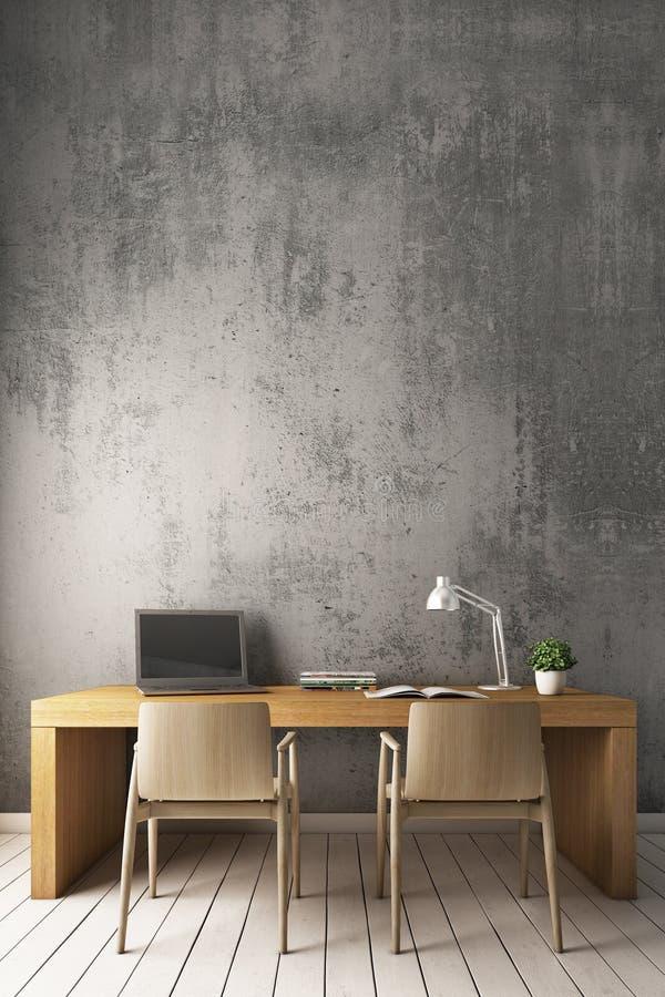 het 3D Teruggeven: Naakte cementmuur met modern werkend bureau vector illustratie