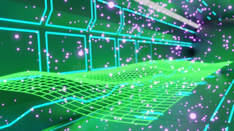 Het 3d teruggeven sc.i-FI van futuristische vormen en patronen die in midair met neonlichten en vliegende deeltjes drijven stock illustratie