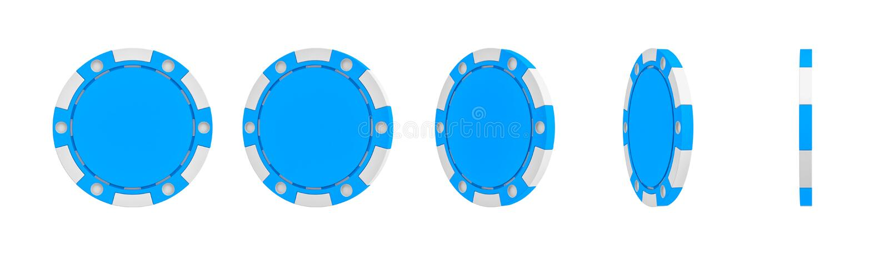 het 3d teruggeven van één enkele blauwe die casinospaander in verschillende meningen van volledige voorzijde aan een slank zijaan royalty-vrije illustratie