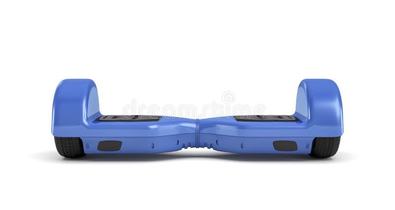 het 3d teruggeven van één enkele blauwe hoverboard in vooraanzicht dat op witte achtergrond wordt geïsoleerd vector illustratie