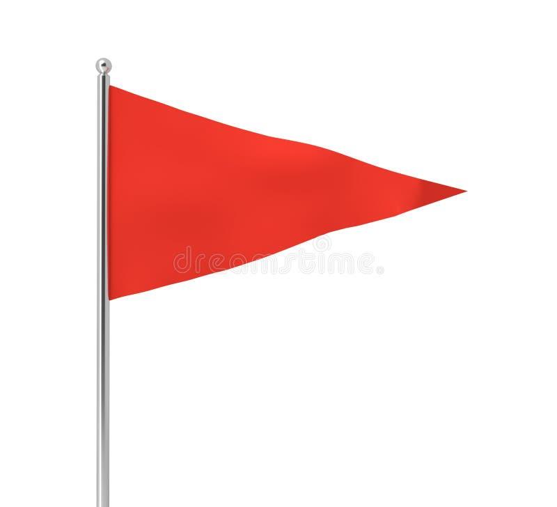 het 3d teruggeven van één enkele rode driehoekige vlag die op een post op een witte achtergrond hangen stock illustratie