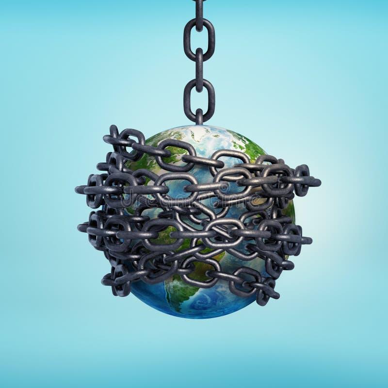 het 3d teruggeven van aarde hing op een ketting en bond overal met kettingen royalty-vrije illustratie