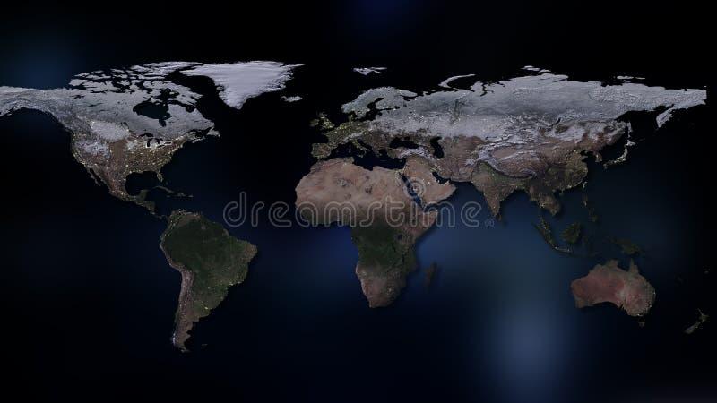 het 3d teruggeven van aarde U kunt continenten, steden zien Elementen van dit die beeld door NASA wordt geleverd vector illustratie