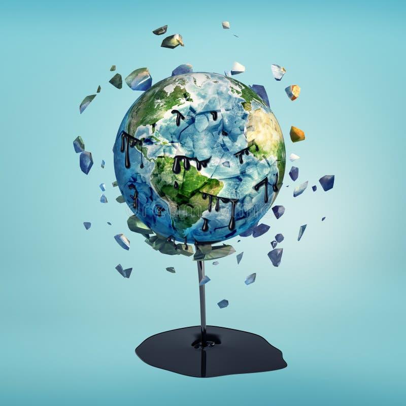 het 3d teruggeven van aardegebied met oliemorserij wordt verbrijzeld op blauwe achtergrond die royalty-vrije illustratie