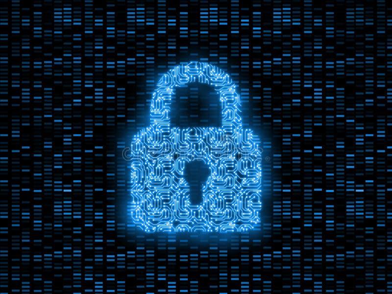 het 3D Teruggeven van abstract concept globale Internet-veiligheid Digitaal die stootkussenslot door de raad van de computerkring stock illustratie