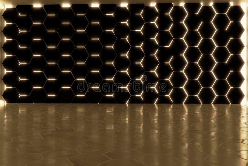 het 3d teruggeven van abstracte achtergrond met gouden lichte en gestapelde hexagon blokken vector illustratie