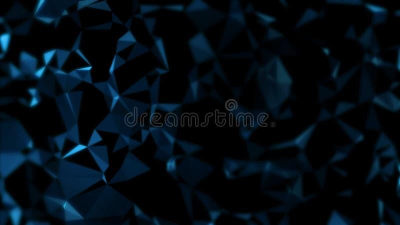 het 3D Teruggeven van abstracte donkerblauwe futuristische veelhoekige geometrische het kristalachtergrond van het driehoekenmoza stock illustratie