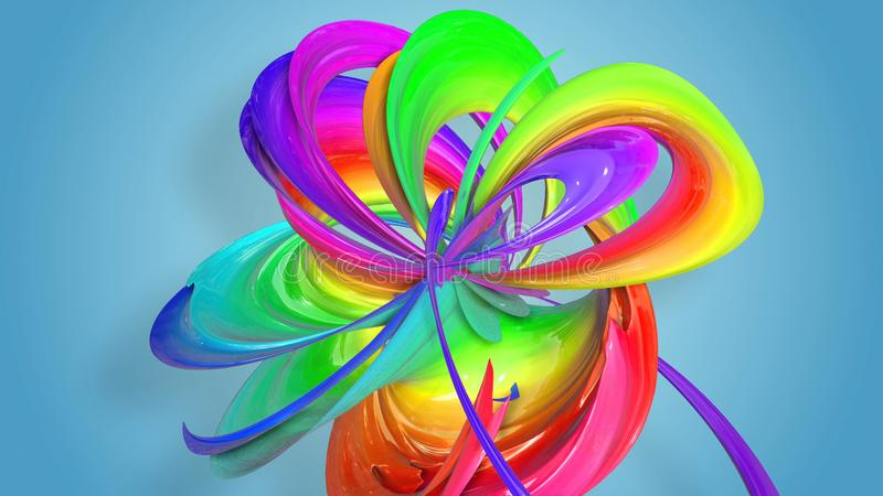 het 3d teruggeven van het abstracte lint van de regenboogkleur verdraaide in een cirkelstructuur op een blauwe achtergrond Mooi vector illustratie