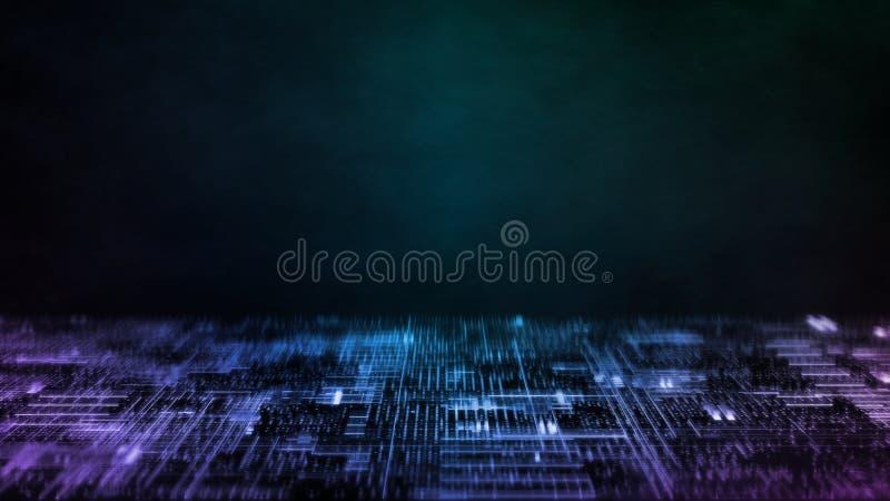 het 3D teruggeven van Abstracte technologieachtergrond De punten van de computerkring en onduidelijk beeld binaire gegevens Voor  vector illustratie
