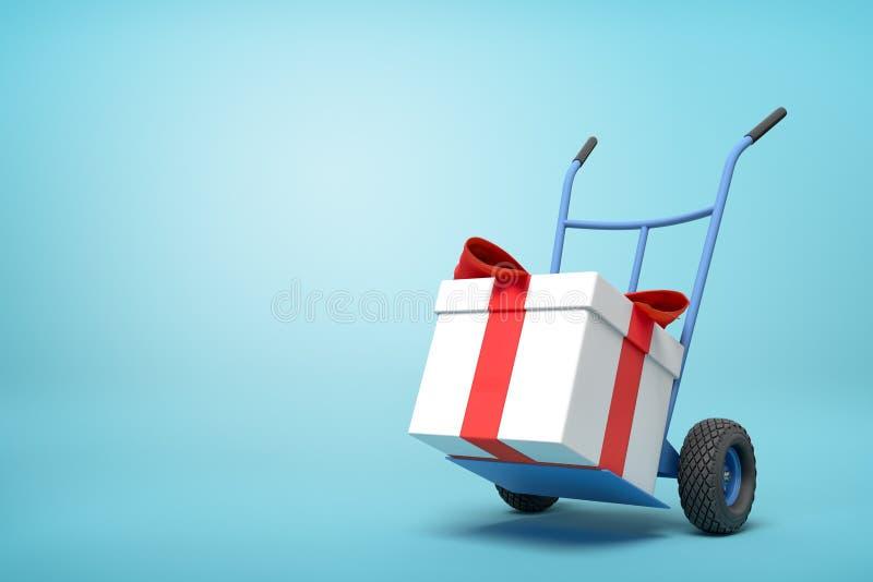 het 3d teruggeven van blauwe handvrachtwagen met groot wit giftvakje bond met rood lint op bovenkant op lichtblauwe achtergrond m royalty-vrije illustratie