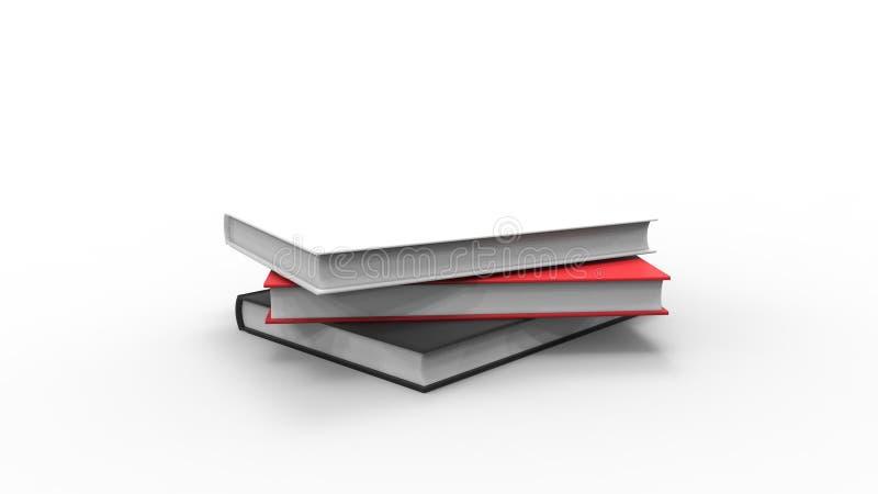 het 3d teruggeven van boeken die op witte studioachtergrond worden geïsoleerd royalty-vrije illustratie