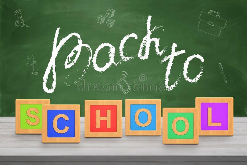 het 3d teruggeven van bord met een fase 'terug naar school 'gedeeltelijk in krijt wordt en met alfabetkubussen die wordt gemaakt  stock afbeeldingen
