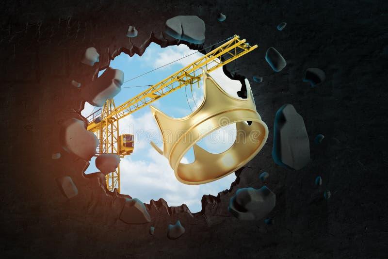 het 3d teruggeven van bouwkraan en gouden kroon die zwarte muur breken vector illustratie