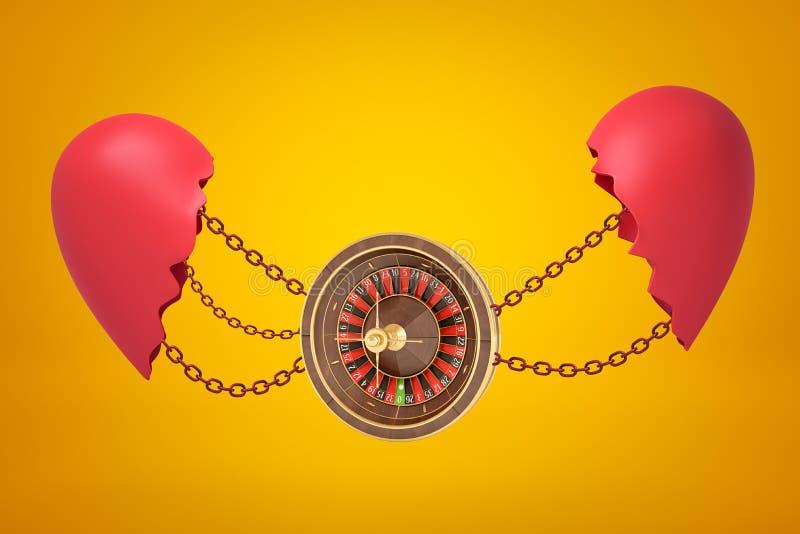 het 3d teruggeven van casinowiel op kettingen tussen twee delen van gebroken hart op gele achtergrond wordt opgeschort die stock afbeelding
