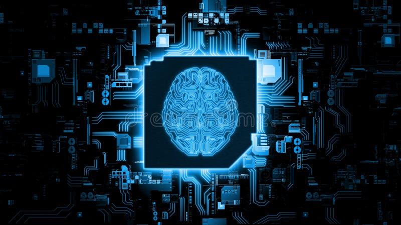 het 3D Teruggeven van het concept van de kunstmatige intelligentiehardware Gloeiende blauwe hersenenkring op microchip op compute stock foto's