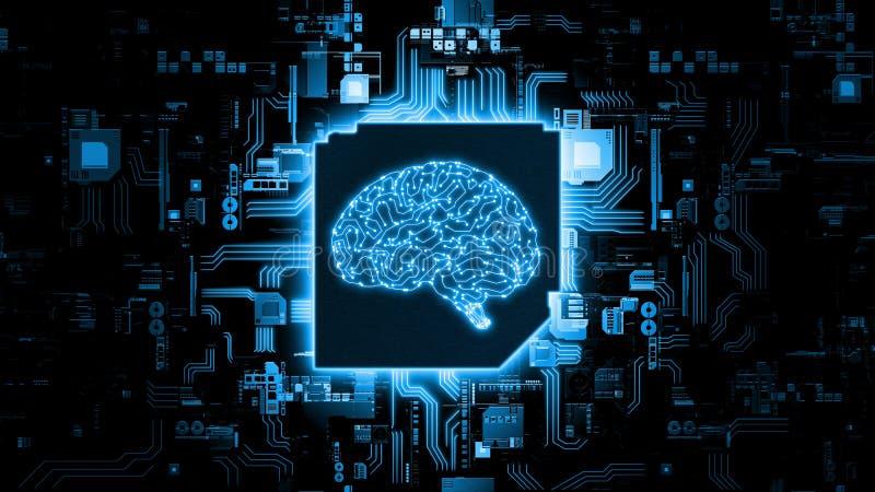 het 3D Teruggeven van het concept van de kunstmatige intelligentiehardware Gloeiende blauwe hersenenkring op microchip op compute stock fotografie