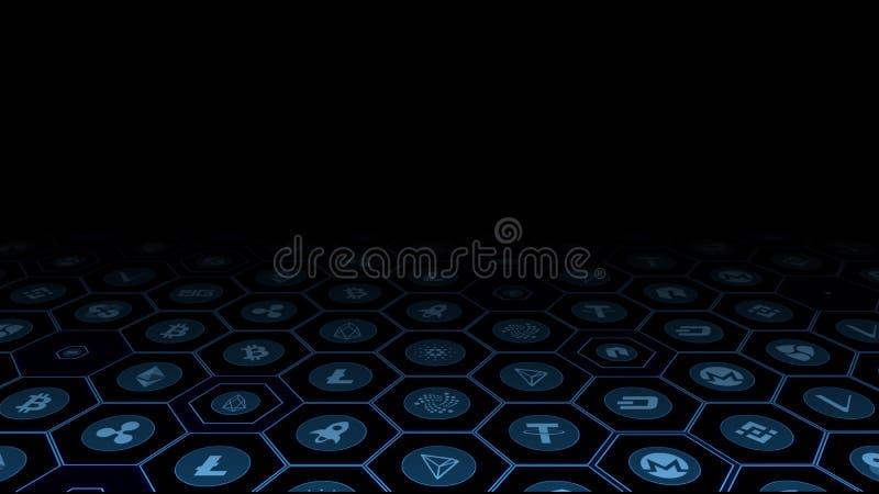 het 3D Teruggeven van crypto munt digitale muntstukken in gloeiend blauw hexagon kader royalty-vrije illustratie
