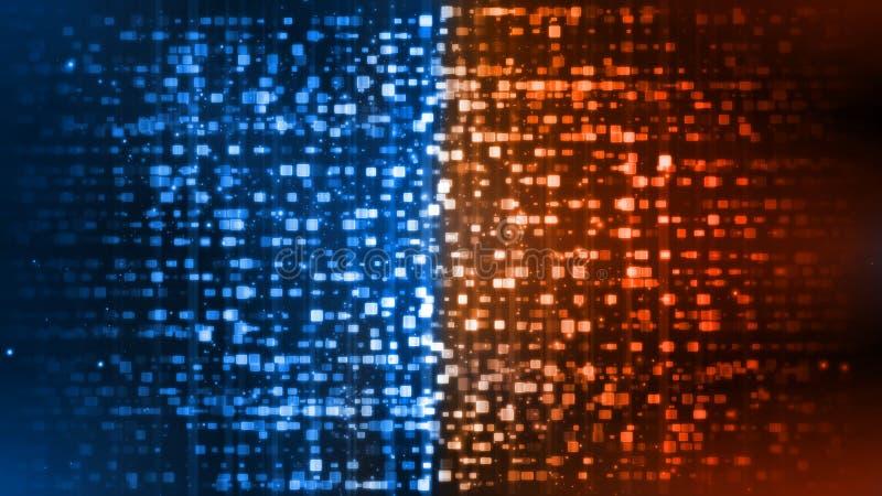 het 3D Teruggeven van de abstracte Brand en Ijselementen van de rechthoekmeetkunde tegen versus elkaar achtergrond Hitte en Koud  stock illustratie