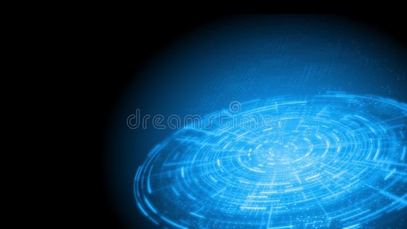 het 3D Teruggeven van de abstracte interface van de technologiecirkel hud op blauwe puntenachtergrond Voor technologie, grote geg stock illustratie