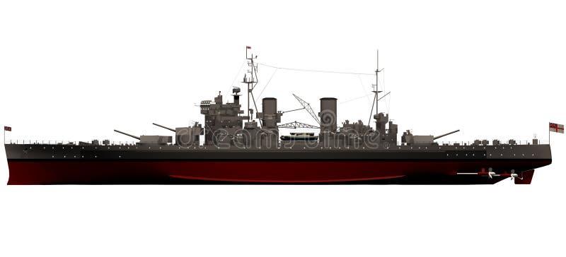 het 3d Teruggeven van de Koning George V Slagschip - Zijaanzicht royalty-vrije illustratie