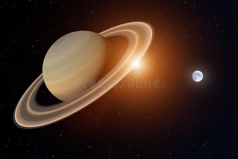 het 3d teruggeven van de planeet Saturnus met de aarde en zon op de achtergrond, wordt elementen van dit beeld geleverd door NASA vector illustratie