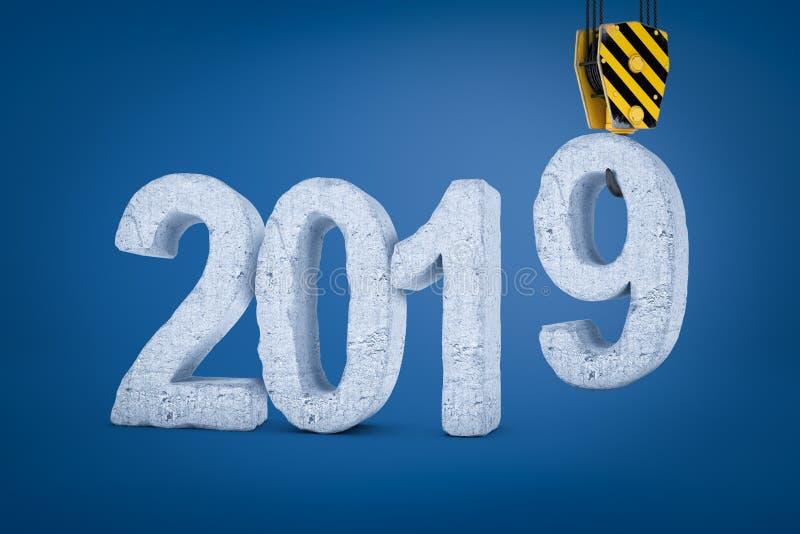 het 3d teruggeven van de steenteken van '2019 'met een de holdingscijfer '9 'van de kraanhaak op blauwe achtergrond vector illustratie