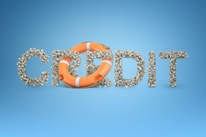 het 3d teruggeven van de titel 'KREDIET 'maakte van veel dollarrekeningen met een reddingsboei in het midden stock illustratie