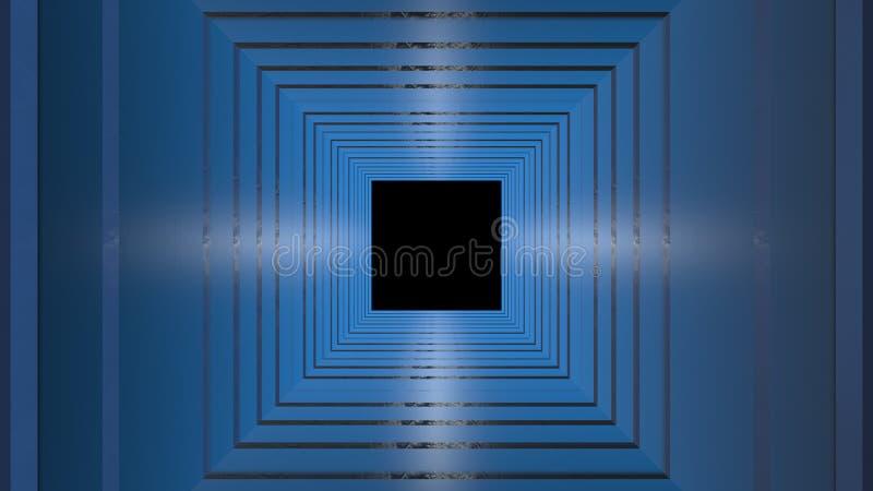 het 3d teruggeven van de tunnel abstracte achtergrond van Neon gloeiende lijnen stock illustratie