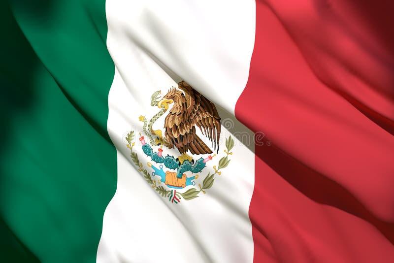 het 3d teruggeven van de vlag van Mexico stock illustratie