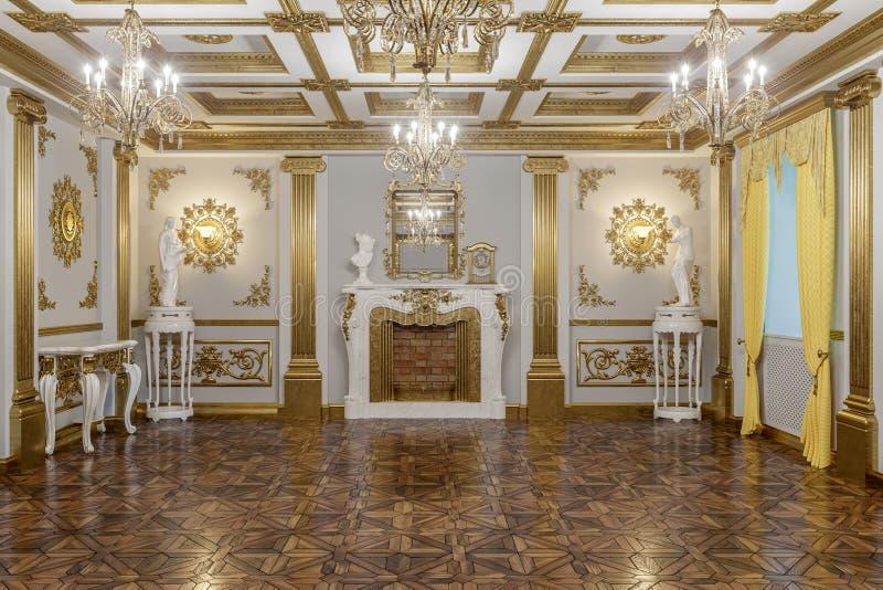 het 3d teruggeven van de zaal in klassieke de Coronarenderer van de stijlbioskoop 4D stock afbeeldingen