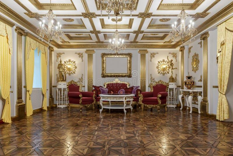 het 3d teruggeven van de zaal in klassieke de Coronarenderer van de stijlbioskoop 4D royalty-vrije stock afbeeldingen