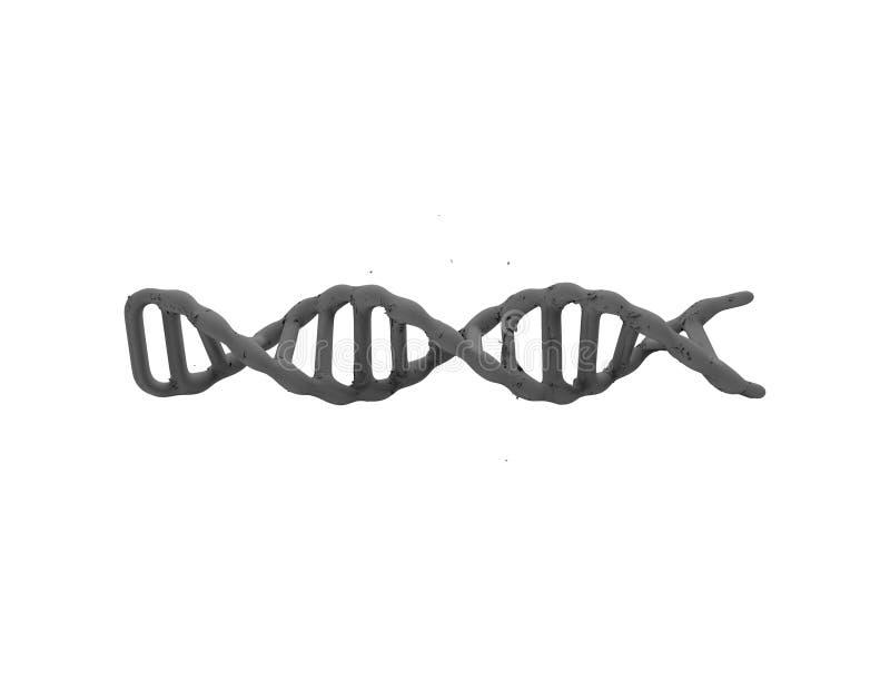 het 3d teruggeven van DNA-koord dat op witte achtergrond wordt geïsoleerd vector illustratie