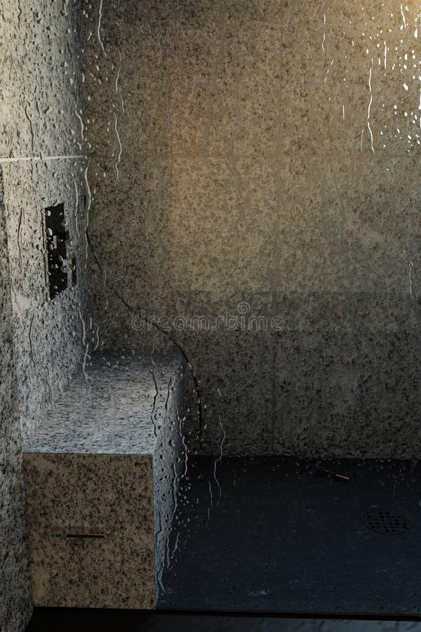 het 3d teruggeven van douchedienblad met wit graniet boven regendruppels g stock illustratie
