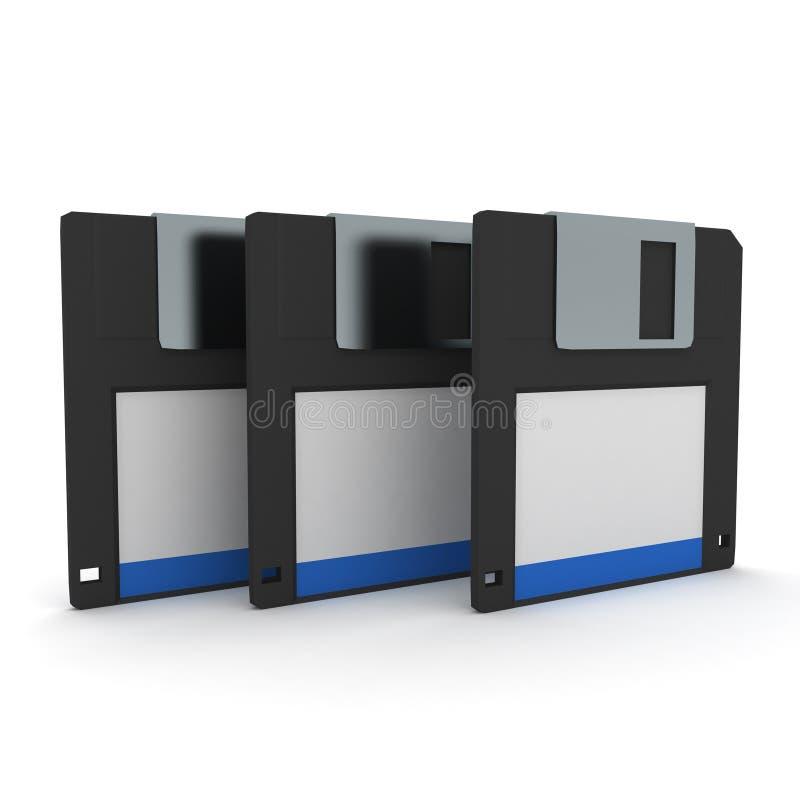 het 3D Teruggeven van drie diskettes royalty-vrije illustratie