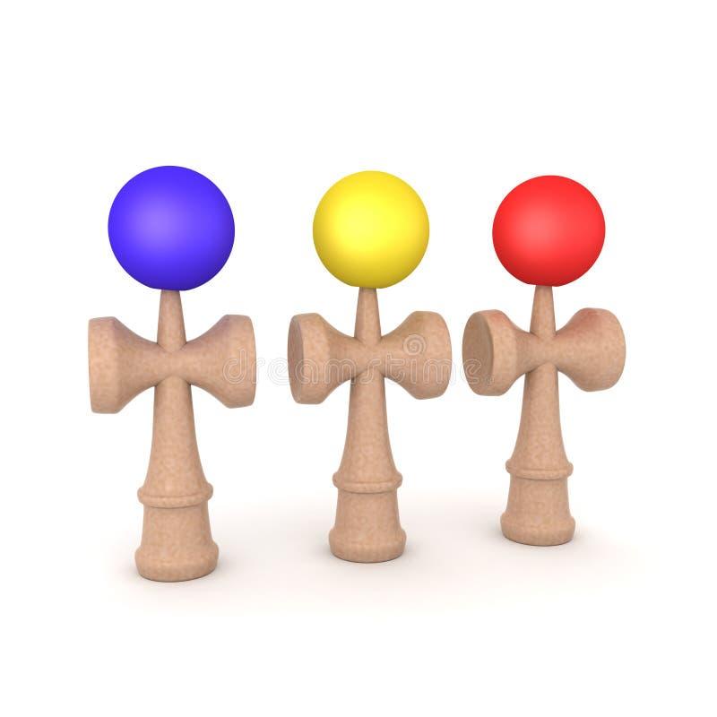 het 3D Teruggeven van drie gekleurd kendamaspeelgoed stock illustratie